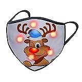 Pany 1 Stücke Erwachsene Weihnachten Mundschutz LED Licht 3D Druck Halstuch Bandana Atmungsaktiv Mund und Nasenschutz für Damen Herren