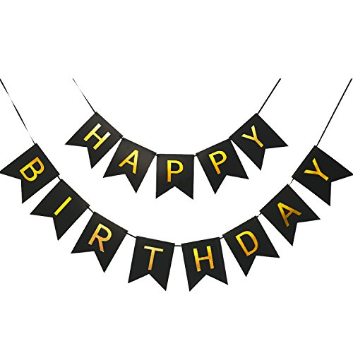 Large Happy Birthday Banner 6.3&7.8 inches Happy Birthday Bunting Banner with Shiny Gold Letters Black & Gold Birthday Party Decorations for Any Ages's Party Supplies with 13 Cards, a Ribbon