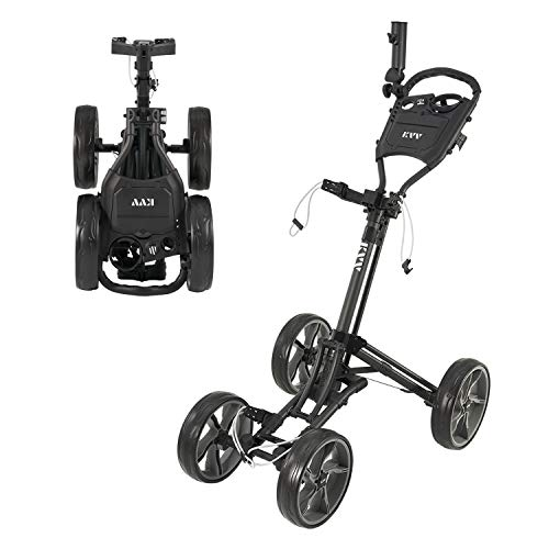 KVV 4 Wheel Foldable/Collapsible Golf Push Cartwith Super Strong amp Lightweight Aluminum FrameOne Step to Open and Close