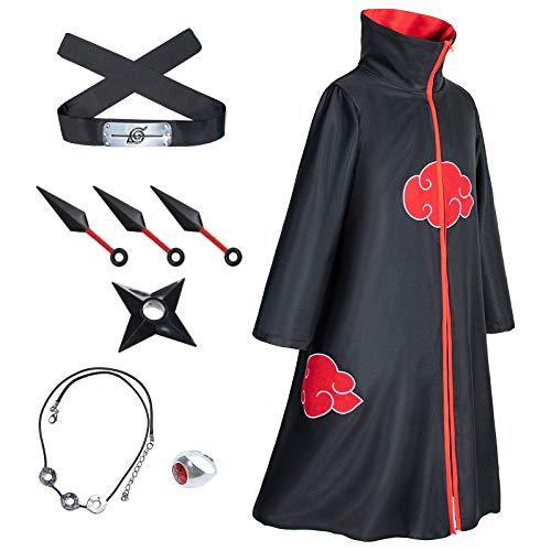 8-Piece Set Unisex Akatsuki Long Robe Naruto Cloak Halloween Cosplay Costume Uniform Headband Full Accessories(Up-M)