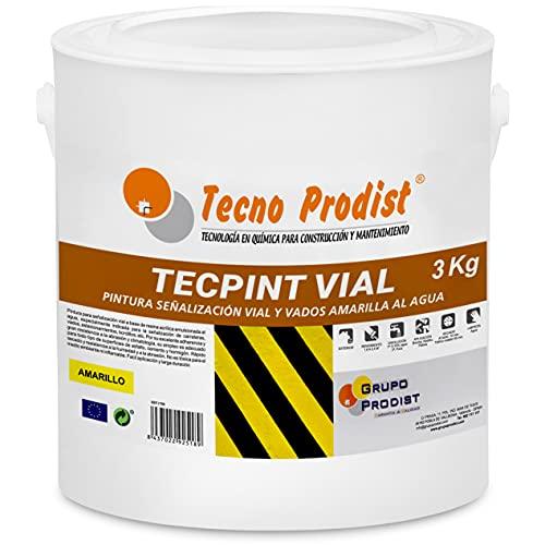 TECPINT VIAL de Tecno Prodist - (3 Kg) AMARILLO Pintura al agua, para señalización vial, especial para vados, secado rápido, no tóxica