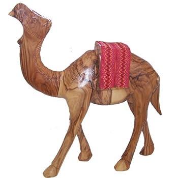Holy Land Market Olive Wood Camel with Red Saddle 7.2  H