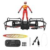 Drone RC, 2,4 GHz 2 essieux Drone de Parapente RC Stunt Mode Maintien de l'altitude Drone Quadcopter Drone télécommandé 4 canaux avec Mode Filght 2-en-1(Rouge)