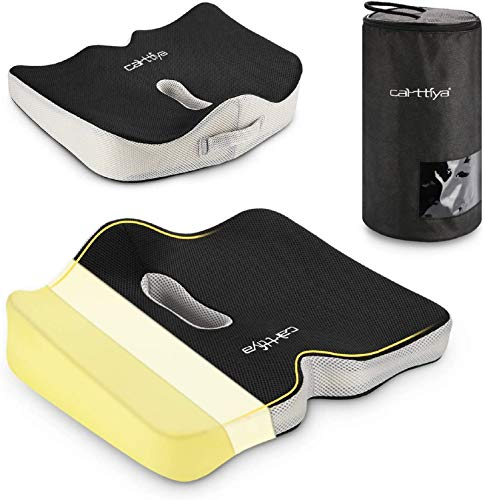 Carttiya Memory Foam Sitzkissen - tragbares Sitzkissen mit abwaschbarem Netzbezug, Schwarz
