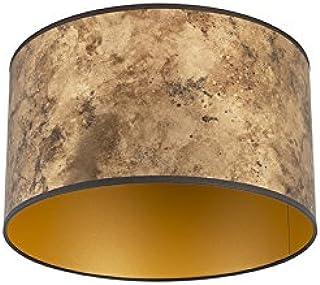 QAZQA Algodón y poliéster Pantalla bronce/oro 35/35/20, Redonda/Cilíndrica Pantalla lámpara colgante,Pantalla lámpara de pie: Amazon.es: Iluminación