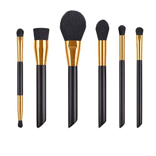 Drawihi Pinceaux Maquillages Premium Coloré Fondation Mélange Blush Yeux Visage Poudre Brosse Cosmétiques 6Pcs (noir)