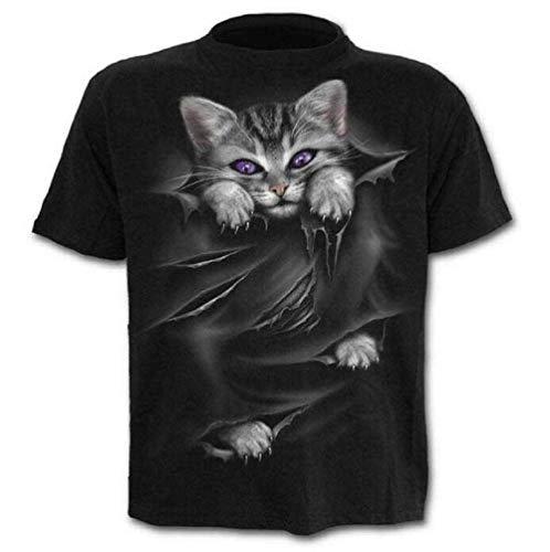 Lovelegis T-Shirt - Maglietta - Maglia Gatto - Gattino - 3D - Maniche Corte - Uomo - Donna - Unisex - Divertenti - Idea Regalo - Cosplay - Felino - Dolce - Kawaii - Taglia XXL - C023