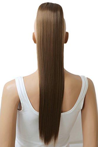 PRETTYSHOP 60cm Haarteil Zopf Pferdeschwanz glatt Haarverlängerung hitzebeständig wie Echthaar hellbraun #12 H608