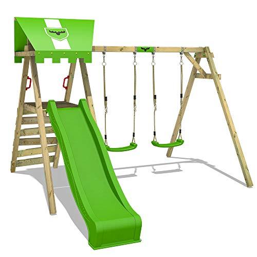 FATMOOSE Kinderschaukel Schaukelgestell JollyJess mit apfelgrüner Rutsche, Schaukel, Schaukelgerüst, Doppelschaukel, Holzschaukel