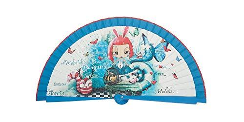 Abanico Original Malaka de Madera diseño Alicia con Caja de Carton Gratuita a Conjunto (23 cm)