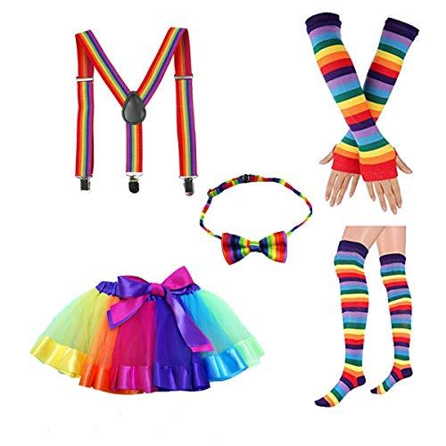 Amosfun Regenbogen Tutu Rock Kit Kinder Bunte Bowknot Krawatte Lange Handschuhe Strumpf Hosenträger Karneval Kostüme Zubehör Set für Kinder Mädchen