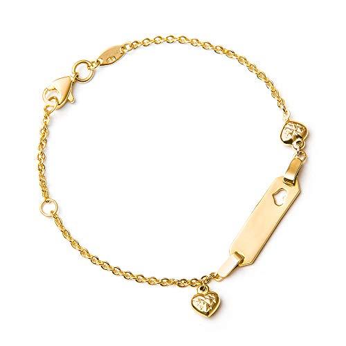 Murrano Kinder ID Armband 333 Gold mit Gravur + personalisierte Geschenkbox - mit Herz - Geschenk für Mädchen zur Geburt zur Taufe - Länge: 13-15 cm - 8 Karat