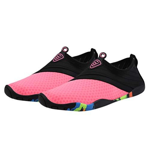 Happyyami Zapatos de Agua Antideslizantes Zapatos Deportivos de Secado Rápido Buceo Descalzo Nadar Surf Aqua Zapatos de Playa para Caminar Zapatos de Yoga para Mujeres Hombres Rosa