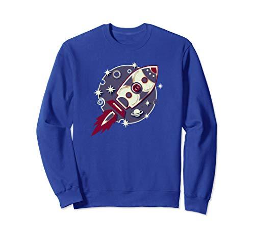 Rakete, Planet, Sterne, Galaxie, Mond, Weltraum, Retro, Sweatshirt