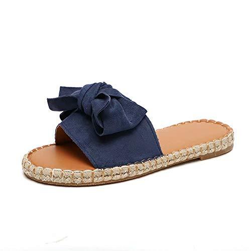 Schlappen Damen Espadrille Sandalen Flache Sommer Schleife Wildleder Sandaletten Peep Toe Plateau Strand Hausschuhe Pantoletten Bequeme Blau 37