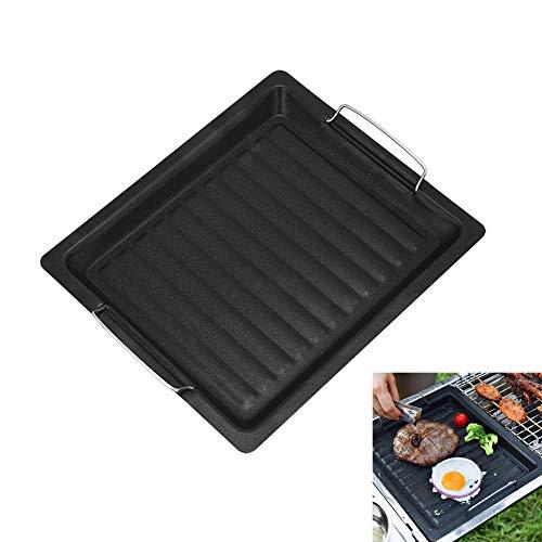 BBQ Grillplatte, Pfanne Grill Grillpfanne Kochen, Wendeplatte Gusseisen Pizzaplatte, Gasgrill-Zubehör Universal, für Outdoor Camping, 25 * 30 cm Schwarz