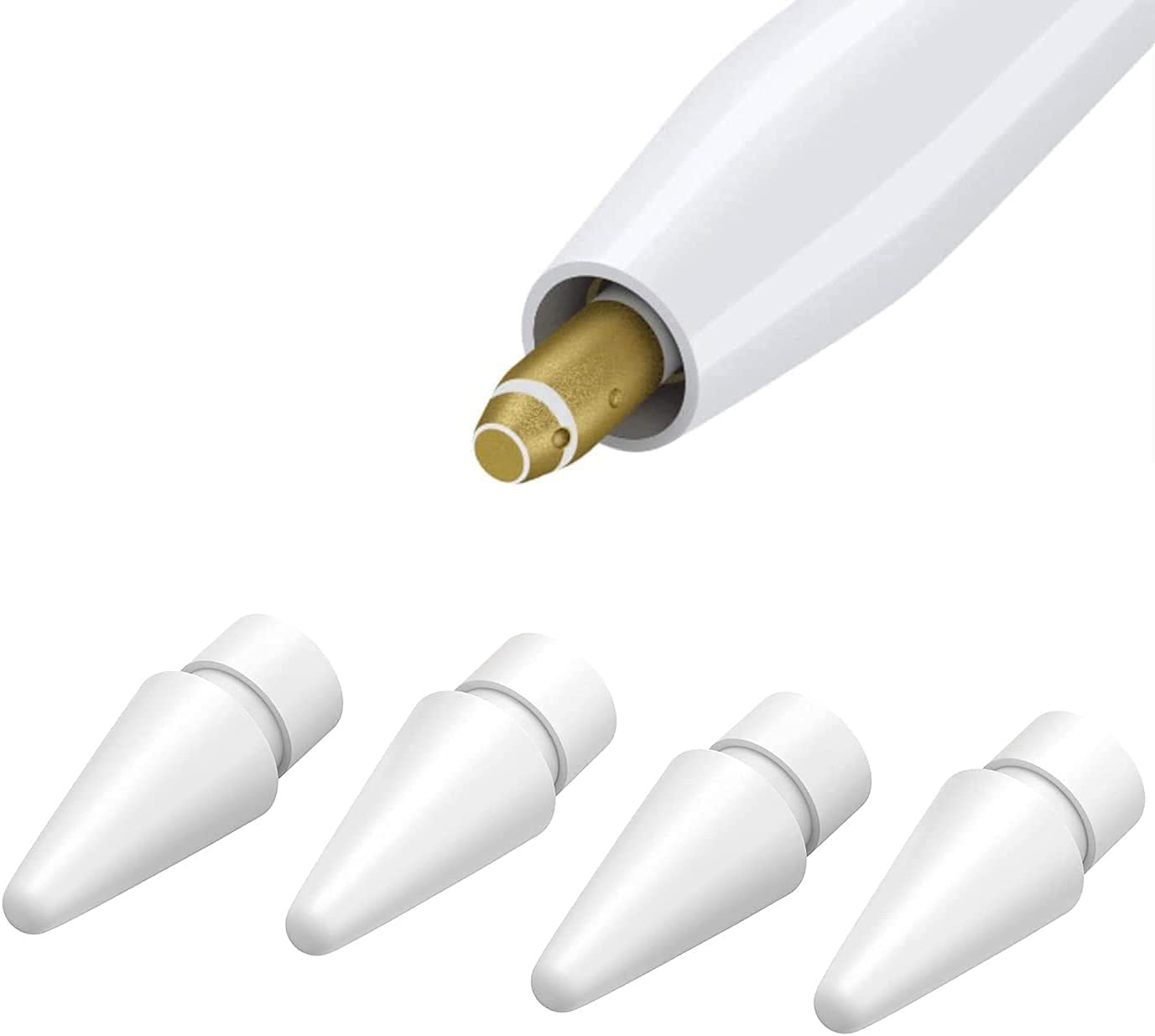 Replacement Tips Compatible with Apple Pencil 1st & 2nd Gen iPad Pro Pencil, High Sensitivity Apple Pencil Nibs for Apple Pencil 2 Gen iPad Pro Pencil White 4 Pack