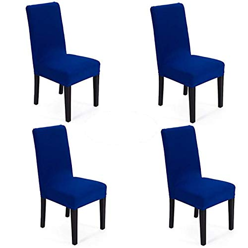 She Yang Spandex Fabric Stretch Removable Washable Dining Room Chair Cover Protector Seat Slipcovers Set of 4 (Royal Blue, 4)