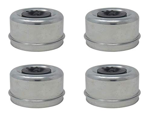 2 Pairs of 2.72  X 1.50  X 1.18  Galvanized Steel Dust Caps with E-Z Lube Rubber Plugs; for 7,000 8,000 Lbs (7K 8K) Trailer Axle Wheel Hubs, DC275L (4 Included)