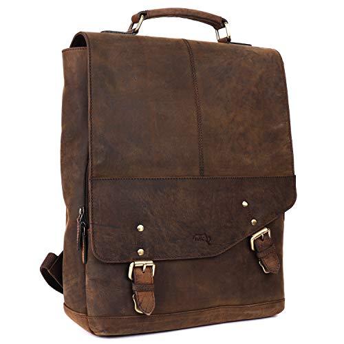 TUSC Cygnus Premium Leder Rucksack für Laptops bis 14 Zoll für Damen und Herren, Tagesrucksack Unisex, Daypack Vintage Braun, Größe 31x40x13 cm