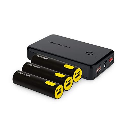 RealPower Family Pack PB-17800 - Cargador portátil (3 x 2600 mAh y 1 x 10000 mAh)