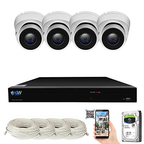 GW Security Smart AI 8 Channel H.265 PoE NVR Ultra-HD 4K (3840x2160) Security Camera System with 4 x 4K (8MP) IP Microphone Dome Camera, 100ft Night Vision, Waterproof Surveillance Camera