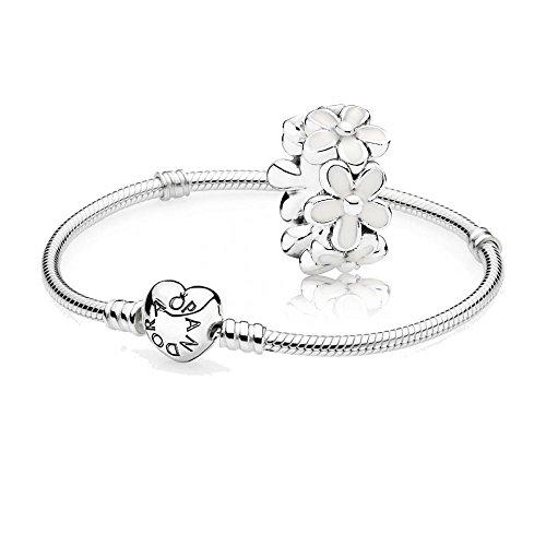 Pandora [A] Original Geschenkset - 1 Silber Armband mit Herz Schließe 590719-21 + 1 Silber Zwischenelement 791495EN12 Liebliche Gänseblümchen