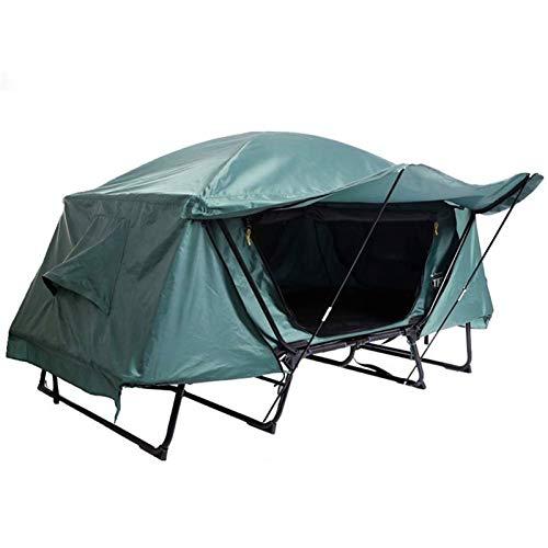 Tienda de campaña con Tienda de campaña plegable Cuna tienda impermeable 2 persona Senderismo elevada camping, Tienda de campaña de la cama al aire libre techo plegable de pesca frente a la tienda de