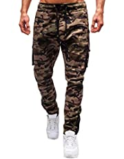 MINIKIMI Camouflagebroek voor heren, joggingpak, cargobroek, sportbroek, casual, fitness, joggingbroek, cargobroek, streetwear, vrijetijdsbroek met zakken