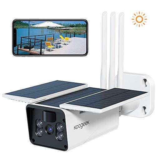 Akku Überwachungskamera aussen, WLAN IP Kamera Argus Pro mit Solarpanel von Koogeek, 2,4GHz WiFi, 1080p HD, PIR Bewegungsmelder, 2-Wege-Audio und SD Kartenslot