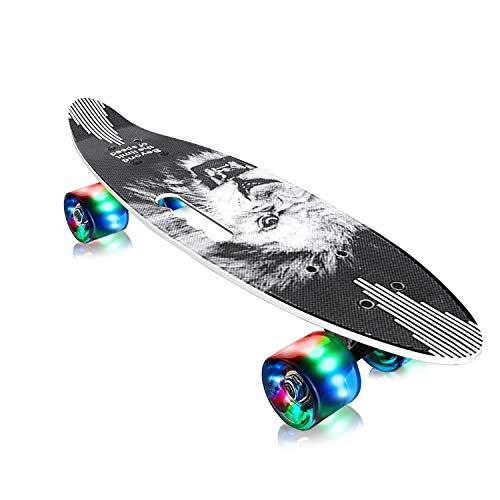 EiDevo Skateboard Plástico Retro Completo,Monopatín Completo Penny Board con 4 LED PU Ruedas,Mini Cruiser Skateboard con All-in-One Skate T-Tool,Skateboard para niños y niñas (Negro)