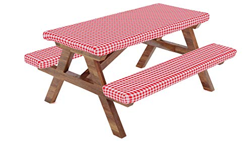 Fitted Picnic Table Tablecloth Cover with Picnic Bench Covers, Fitted Vinyl Tablecloth and Seat Covers, Tablecloth for Picnic Table, Camping Picnic Table Bench Elastic Covers,72X28 Inch,Red,3 Piece