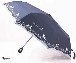 折り畳み傘 ワンタッチ 自動開閉 レディース 晴雨 兼用 UV カット かわいい 猫柄 (ネイビー)
