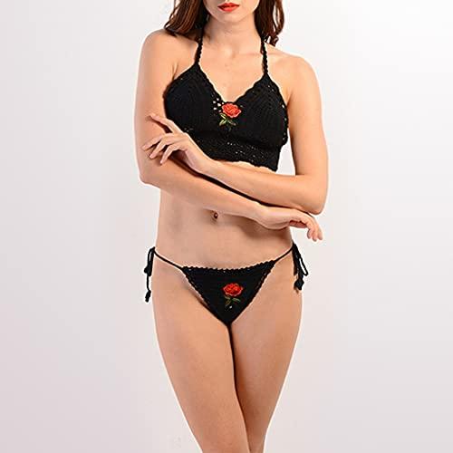 NMJKH Traje de baño de las señoras del bordado Traje de baño de la playa del ocio del viaje del bikini hecho punto de la flor (Color : Black, Size : F)