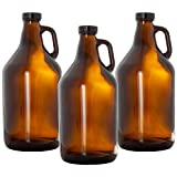 Amber Glass Growlers for Beer, 3 Pack - 64 oz Half Gallon Jug Set with Lids - Great for Home Brewing,...