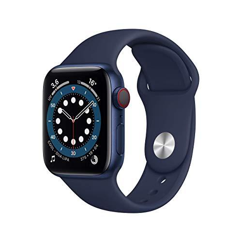 Novità AppleWatch Series6 (GPS+Cellular, 40mm) Cassa in alluminio azzurro con Cinturino Sport deep navy