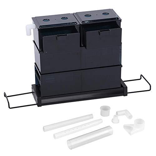 Acrílico 45 ranuras 6 cajas acuario pecera en forma de S almacenamiento de agua cajón de tanque de filtro superior 94,3 oz