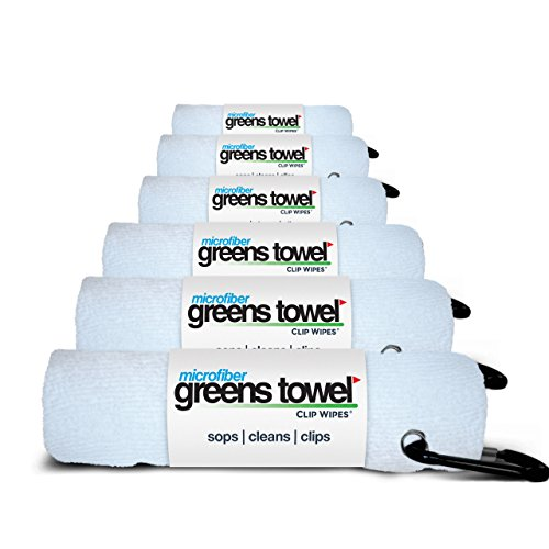 Greens Towel (6 Pack, Pure White, Microfiber, 16' X 16' with Carabiner Clip. The Convenient Golf Towel