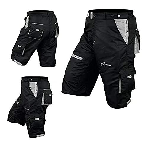 Pantaloncini MTB Ciclismo Off Road Bicicletta CoolMax Imbottito Liner Ciclo Corto, nero/grigio, XL