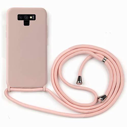 GoodcAcy Funda para Samsung Galaxy Note 9 Case,con Correa Colgante Ajustable Cadena Cordón Premium Antipolvos sobre Carcasa de Silicona Líquida Suave,Pink