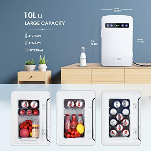 OMORC Mini Fridge, 10 Liters Mini Cooler and Warmer Car Refrigerator with LED Display/Dual-Core System/ECO and Super Quiet, Personal Tiny Fridge - AC & DC (White)