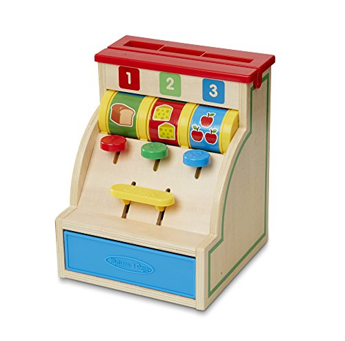Melissa & Doug 13378 Spin and Swipe Cash Register Wooden Toy with 3 Play Coins/Pretend Credit Card, Multi-Colour