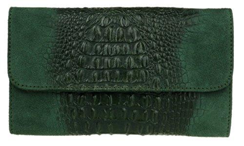 Girly Handbags Croc italiana gamuza cuero bolsa de embrague - verde oscuro