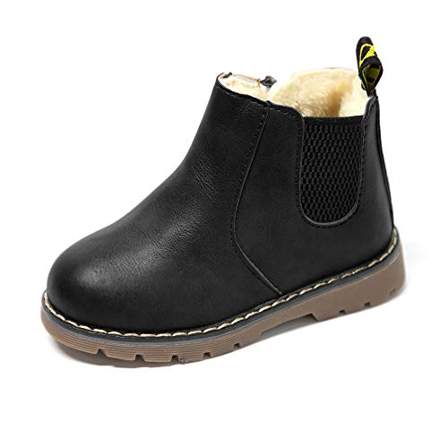 Athlefit Toddler Boots Girls Boys Chelsea Winter Snow Boots Little Kids Toddler Ankle Fur Boots Black for 7 Toddler