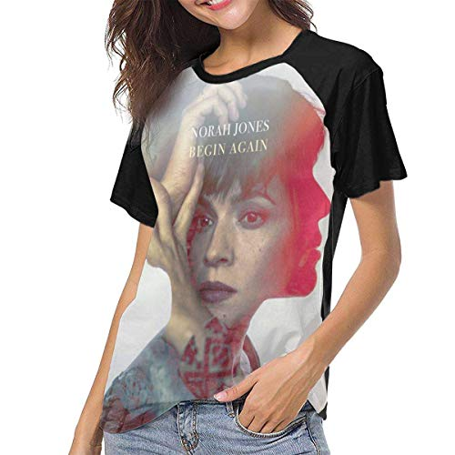 Yuanmeiju Camiseta para Mujer,Camisa Norah Jones Begin Again Womens Manga Corta Raglán Baseball T Shirt Black