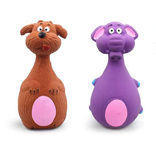 JINYJIA Quietschspielzeug für Hunde Set, Strapazierfähiges aus Latex Haustier-Kauspielzeug, Interaktive Spielzeuge für Kleine mittelgroße Hunde (2 Stück, Elefant und Hund)