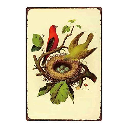Jessgirl Cartel retro vintage de metal de lata con diseño de pájaro de pie en una rama de nido de pájaros, hogar, bar, cocina, jardín, decoración de pared, 12 x 8 pulgadas