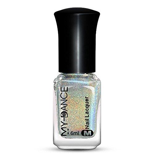 iHENGH Gel UV Ongle, Nail Effect Nail Powder No Polish Foil Nails Art Glitter Silver