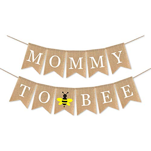 SWYOUN Burlap Mommy to Bee Banner Bumble Bee Theme Supplies Boy Or Girl Baby Shower Party Decoration