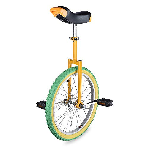 "AW 20"" Inch Wheel Unicycle Leakproof Butyl Tire Wheel Cycling Outdoor Sports Fitness Exercise Yellow Green"